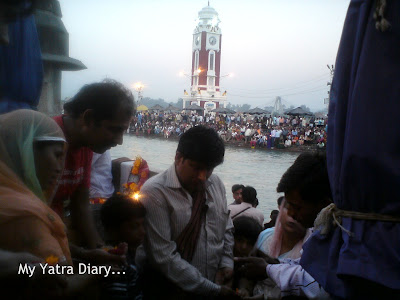 Devotees take part in various rituals at the Har Ki Pauri in Haridwar
