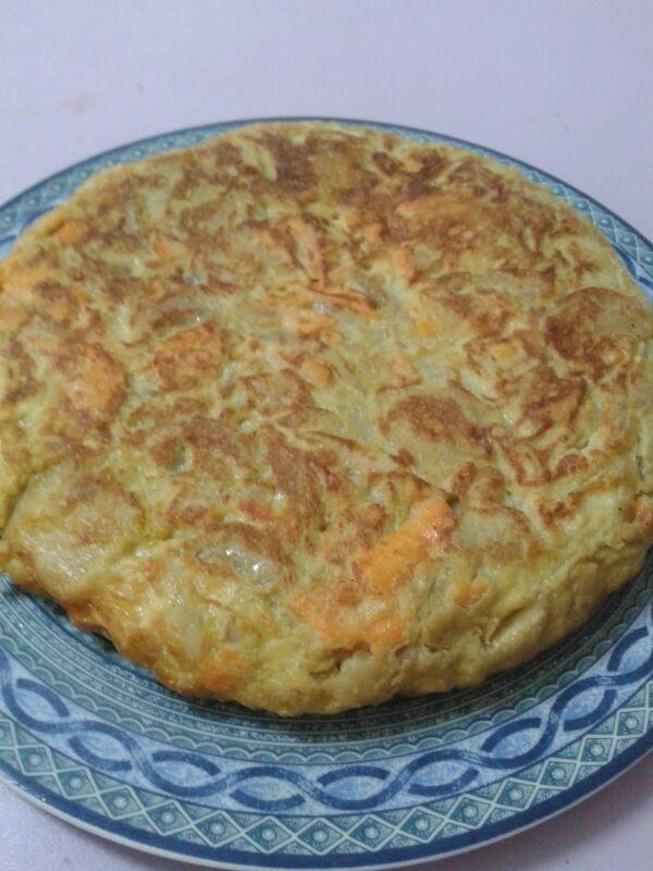 Tortilla de boniatos y cebolla