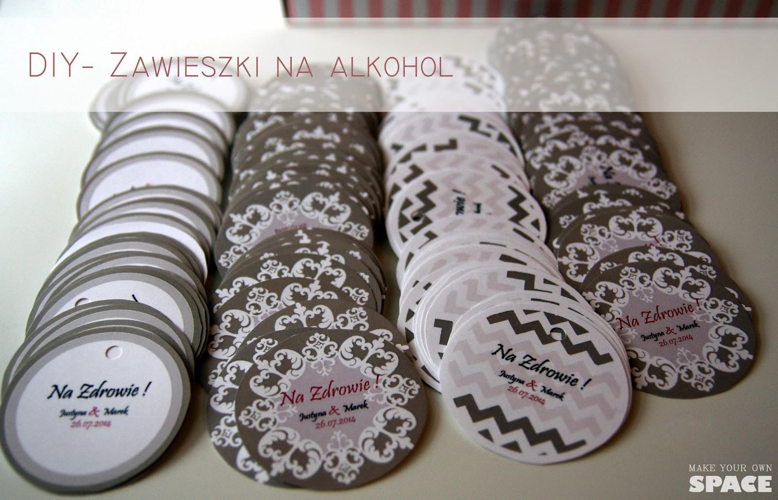 zawieszki na alkohol, zawieszki, wesele, DIY, ślub
