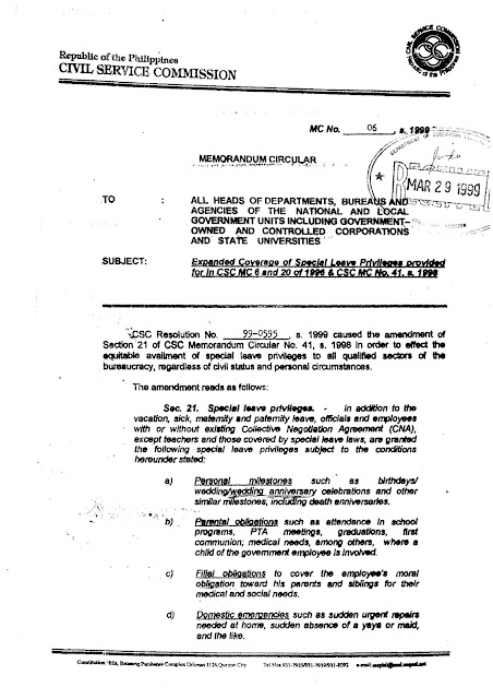 CSC MC 21, s. 2004: Amendment to Section 68 of CSC MC No ...