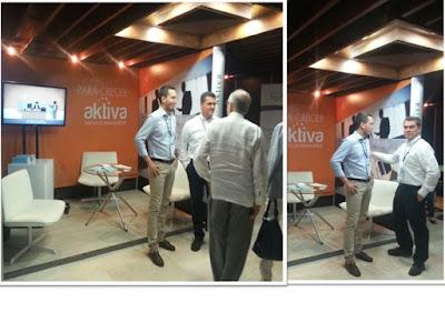 De derecha a Izquierda: Carlos Raúl Yepes Jiménez, presidente del Grupo Bancolombia y Pablo Santos Ramón, gerente de negocios de Aktiva Servicios Financieros