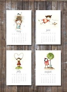printable calendar 2013, illustrations, kid prints,children art, downloadable, downloadable pdf