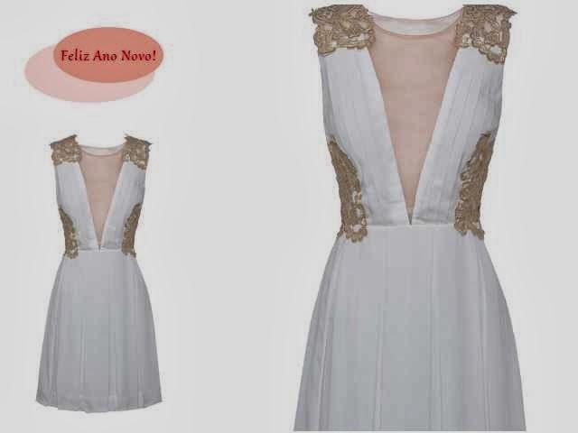Vestido branco com detalhes dourados PatBo / CeA