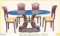 Meja dan Kursi Makan Ukiran Kayu Jati Ikan Table 4 Chair