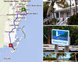 Route Florida - Miami Beach nach Key Largo