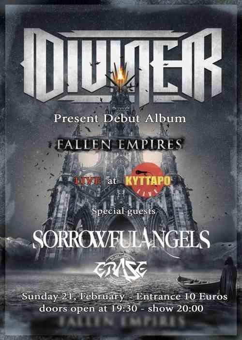 "DIVINER: ""Fallen Empires"" release show: Κυριακή 21 Φεβρουαρίου @ Κύτταρο w/ SORROWFUL ANGELS"