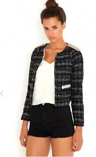 Ernesta Stud Shoulder Tweed Jacket