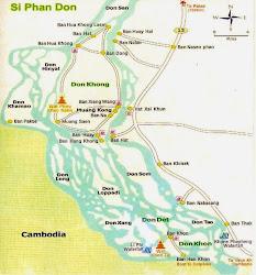 Carte de Si Phan Don 4000 îles du Mékong