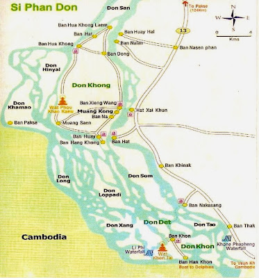 Mapa de Si Phan Don - 4.000 ilhas do Mekong Mapa