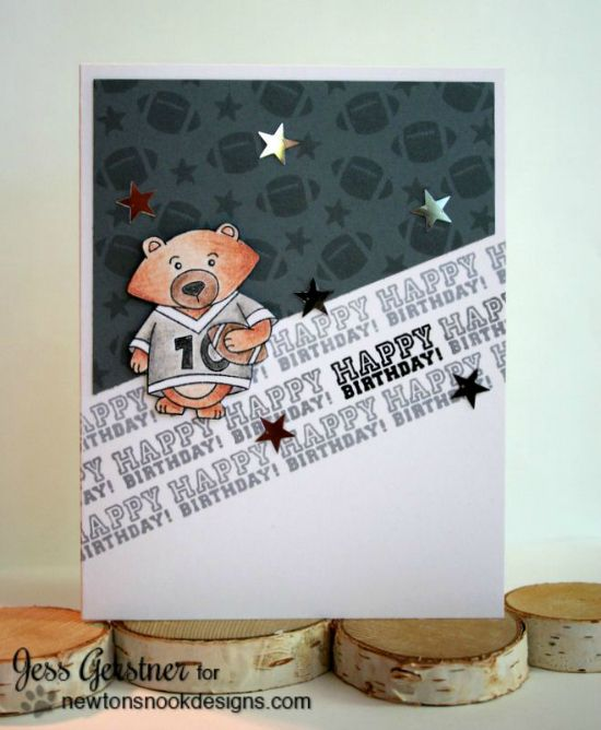 Football Birthday card by Jess Gerstner | Touchdown Tails stamp set by Newton's Nook Designs #newtonsnook #football