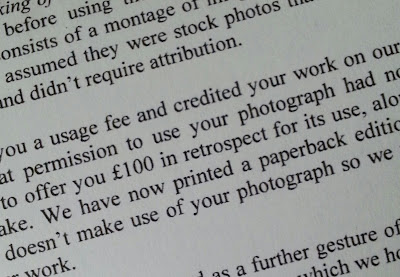 Detail of a letter about use of an image on a book cover.