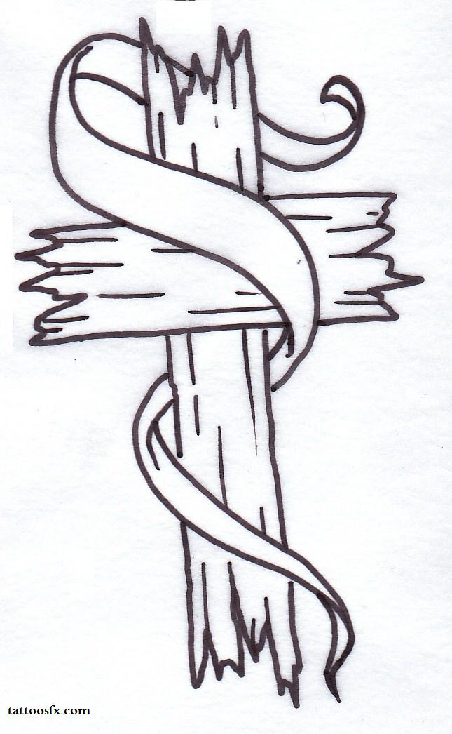 Cross with Ribbon Tattoo Designs