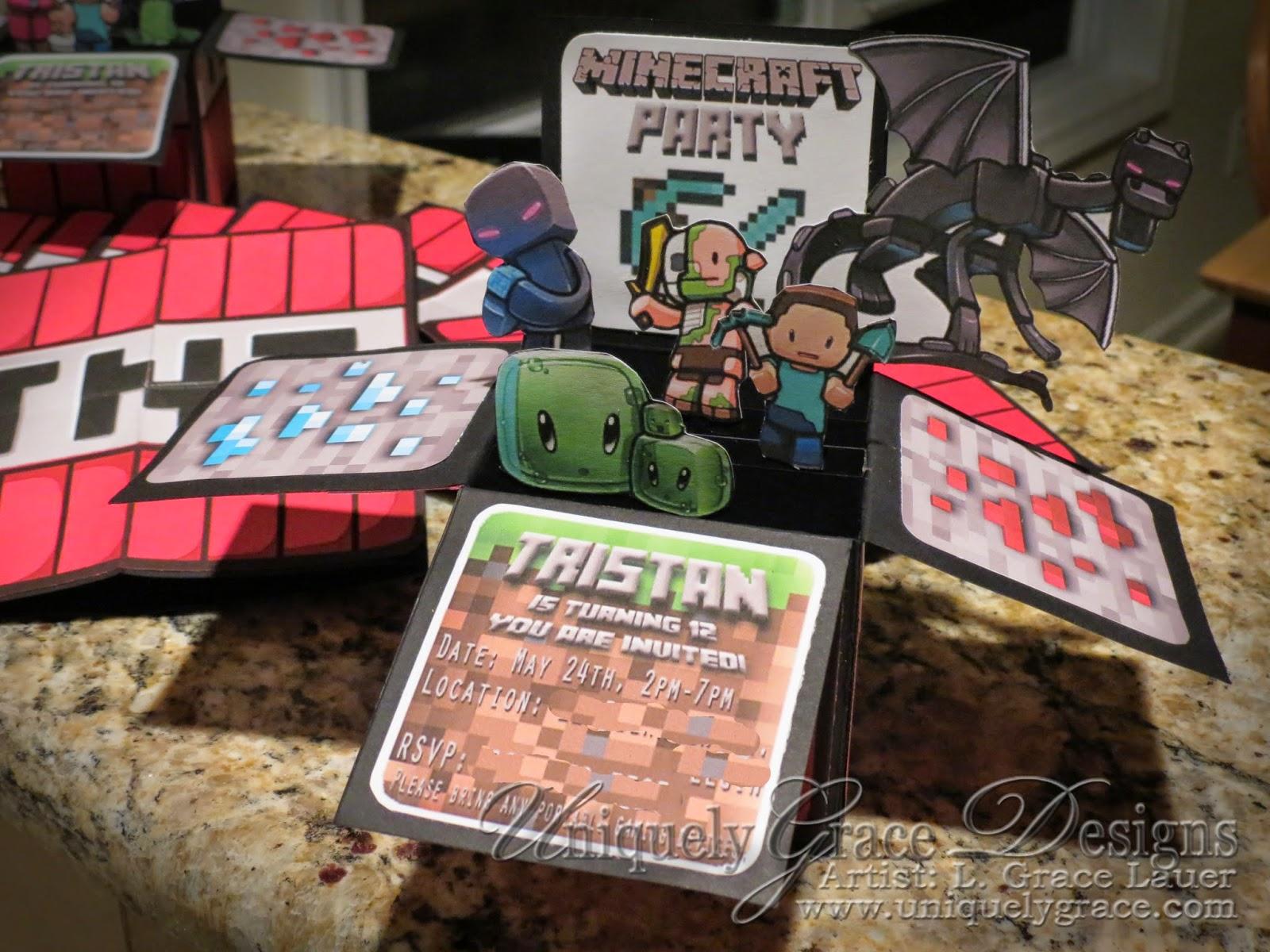 Uniquely Grace Minecraft 3D Box Birthday Party Invitations