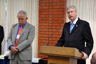 Michael Jez (l) and Mike Merkel were given the Defensor Pacem Medal.
