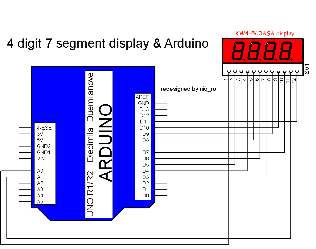 arduino seven segment display wiring diagram arduino trailer arduino 4 digit 7 segment display circuit diagram