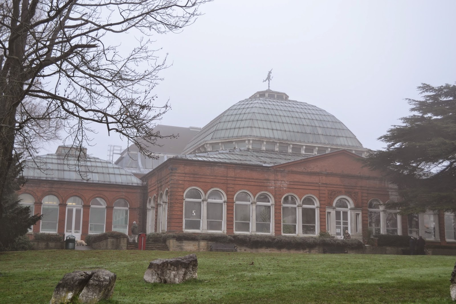 Victorian Avery hill winter garden in the fog, Eltham, London