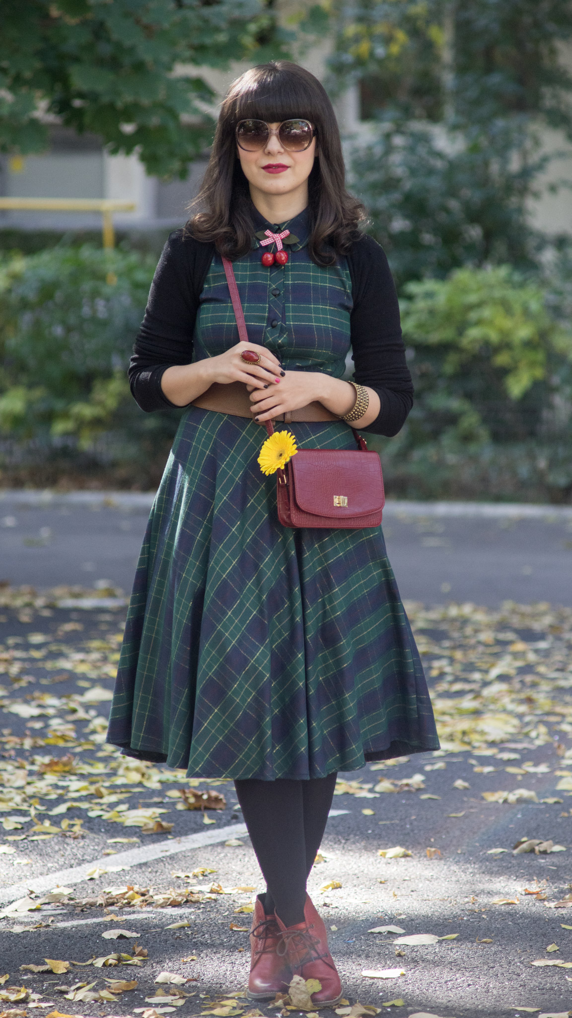 fall midi tartan dress burgundy boots bag koton brown belt cherries accessory yellow gerbera