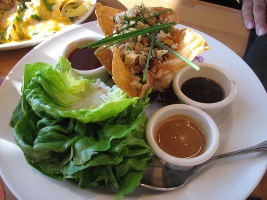 Chicken Lettuce Wraps: Stir fried chicken with pine nuts, green onions ...