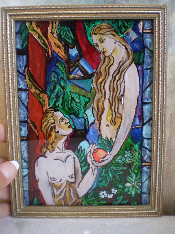 Adam and Eve, oil on glass, Joli