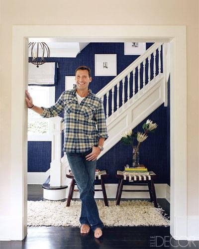 Navy Grasscloth Wallpaper: House Of Marlowe: Dream Designer: Timothy Whealon