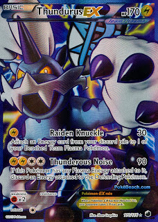 Thundurus EX Full Art Plasma Freeze Pokemon Card