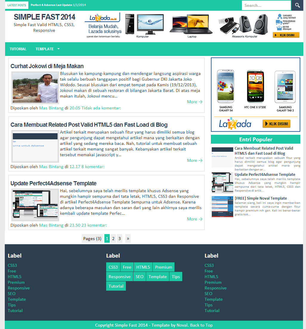 Simple fast responsive blogger template