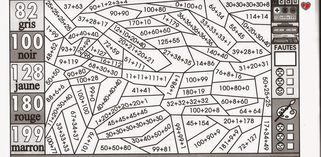 imprimer coloriage magique math calcul addition ce1 et ce2