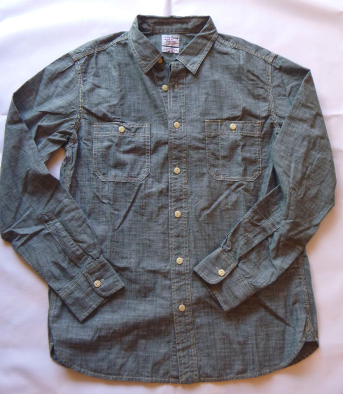 LUCKY BRAND Men Two Pocket Green Chambray Shirt NwT- Large