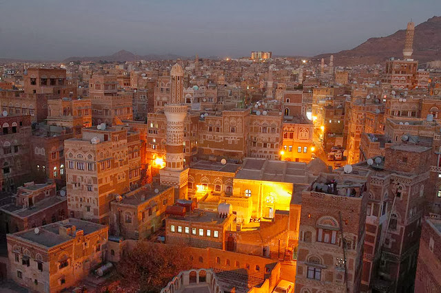 night view of the old sana'a city yemen