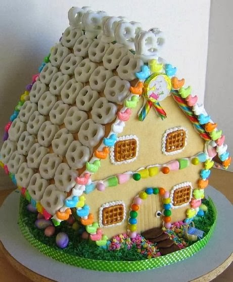 The Creative Roof Of Pretzels Adds A Certain Charm To This Gingerbread House .