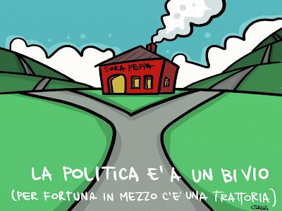 Gavavenezia gava venezia satira vignette ridere piangere pensare disegno illustrazione caricatura politica sora peppa bivio colline compromessi