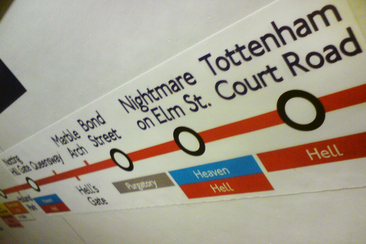 """""""The world is big enough for us. No ghosts need apply."""" Funny London Underground signs."""