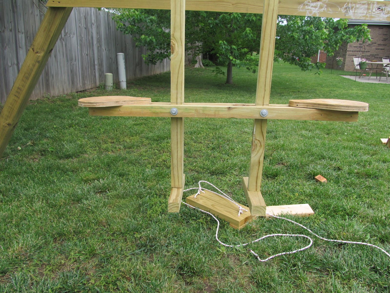 Diy project crazy wood see saw swing for Swing set supports