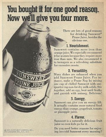 Vintage  label Prune Juice 1950s