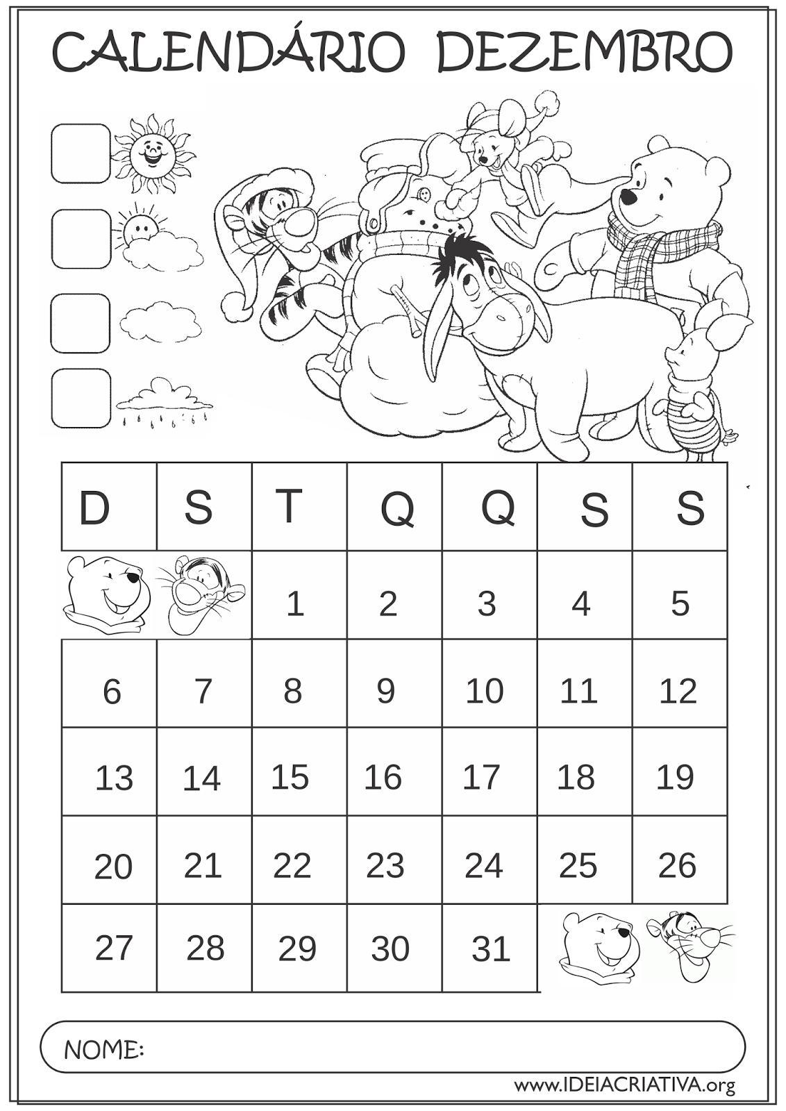 Calendários Dezembro 2015 Turma do Pooh Natal Colorir