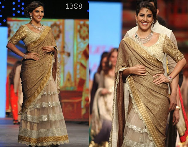 Indian television actress Parizad Kolah cream Brown Saree