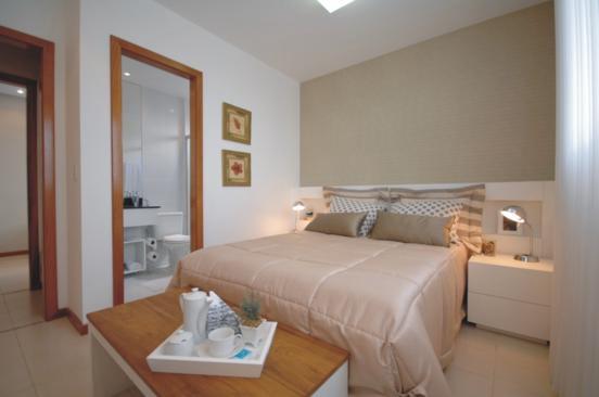quarto de casal simples, moderno, bege