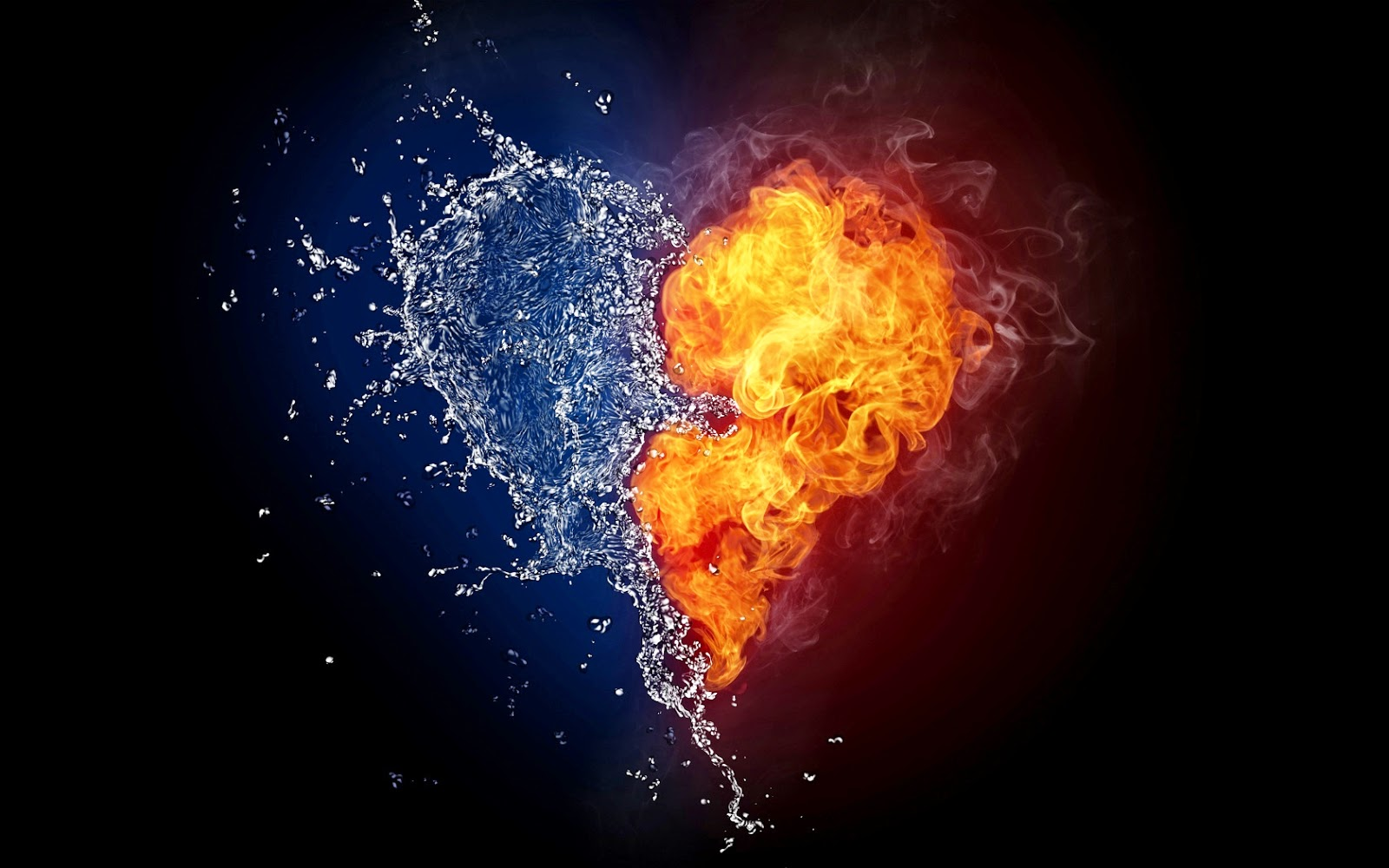 happy valentines day ice and fire hearts wallpaper