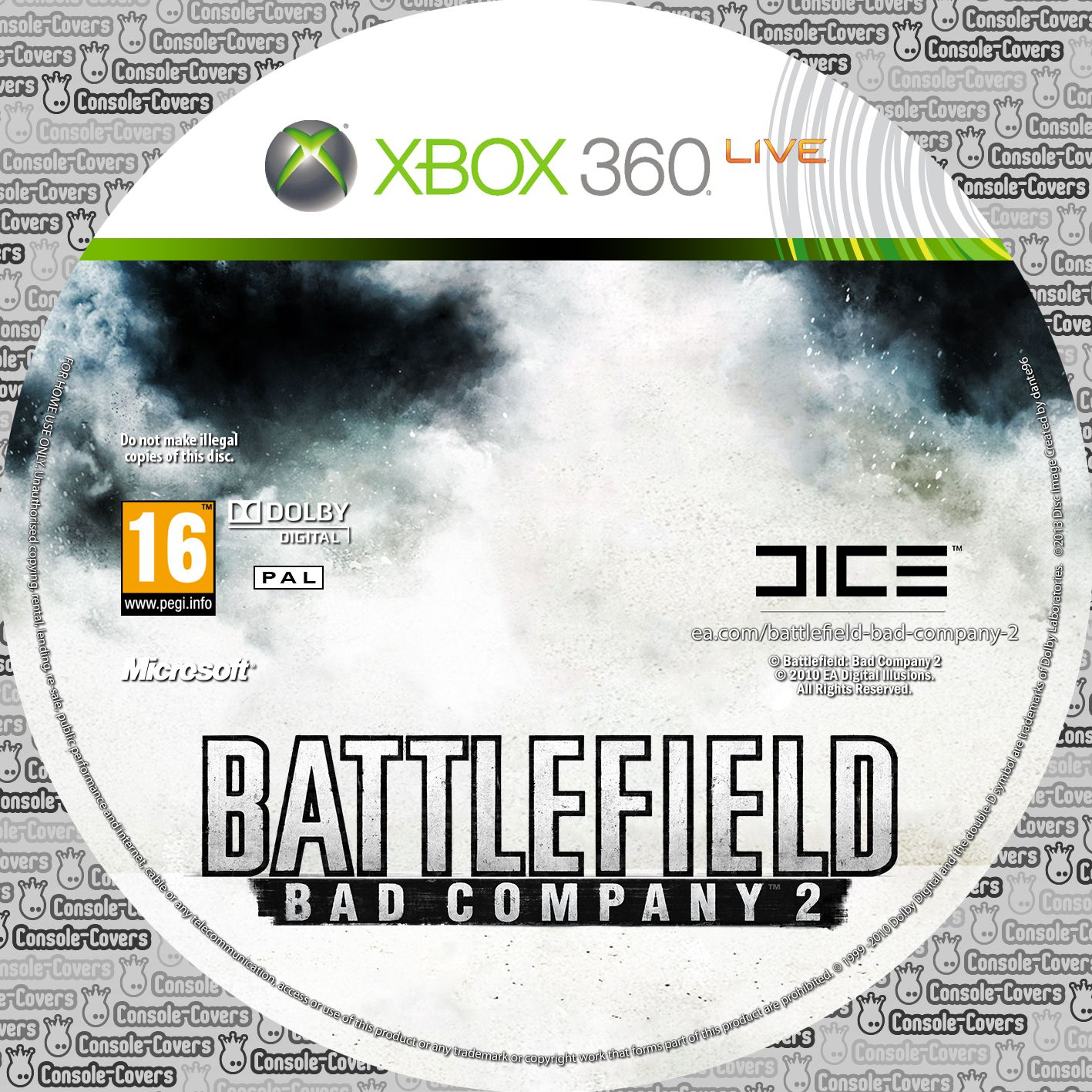 Label Battlefield Bad Company 2 Xbox 360