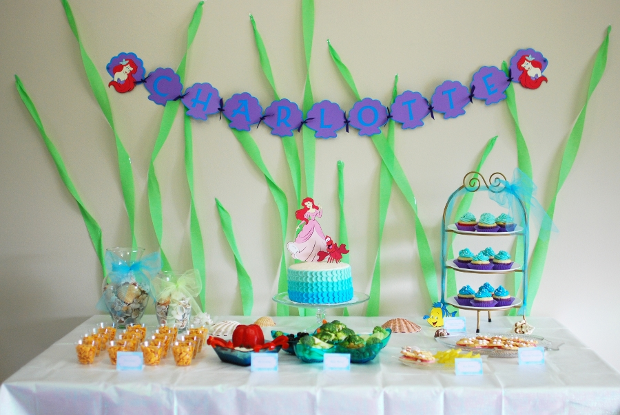 Appetizer for a crafty mind little mermaid birthday party for Ariel birthday party decoration ideas
