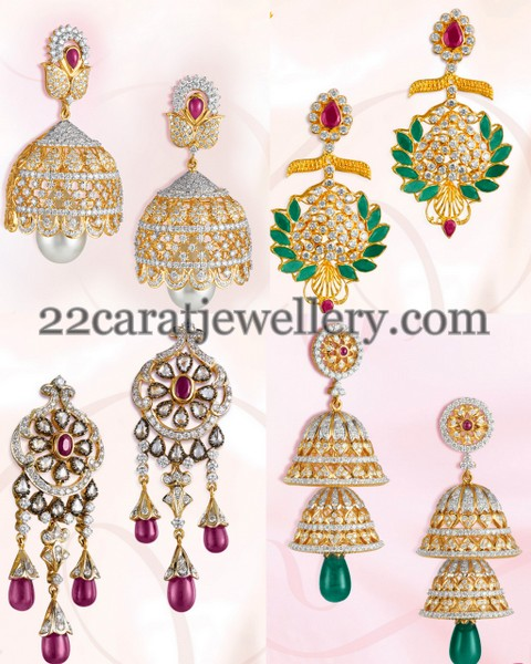 Paisley Design Diamond Jhumkas Earrings
