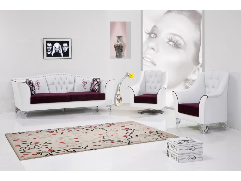 Modern beyaz koltuk tak mlar - Sultan Koltuk Tak M Tamda Sultanlara Laik Bir Tasar M Beyaz Zerine Vi Ne Rengi Tonuyla Kendini Daha Bir K Ve G Zel G Steriyor Beyaz Safl K Ve Temizlik