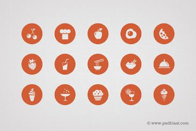 50 iconos de comida en psd