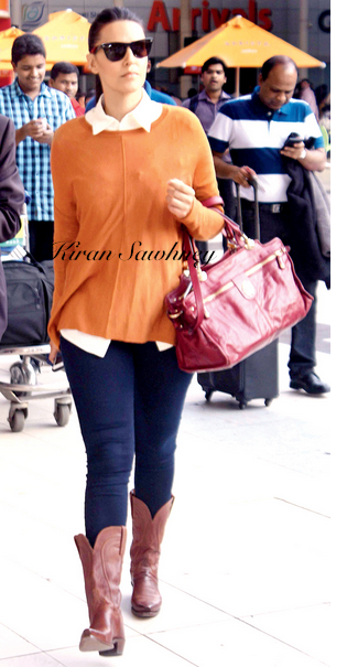Airport Spotting- Neha Dhupia at Mumbai airport