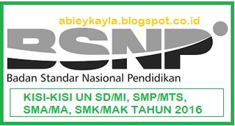 Kisi-kisi Untuk UN SD/MI, SMP/MTs, SMA/MA, SMK/MAK dan kesetaraan 2016 Terbaru dari Kemdikbud