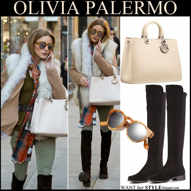 Olivia Palermo in beige fur cardigan with black suede knee boots Stuart Weitzman, tortoise sunglasses Westward Leaning Voyager and beige tote Diorissimo november 19 winter streetstyle