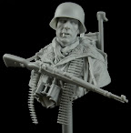 "Life Miniatures 1/10th scale bust - ""MG42 Tripod Carrier, Totenkopf Division, Kharkov 1943"" in revi"