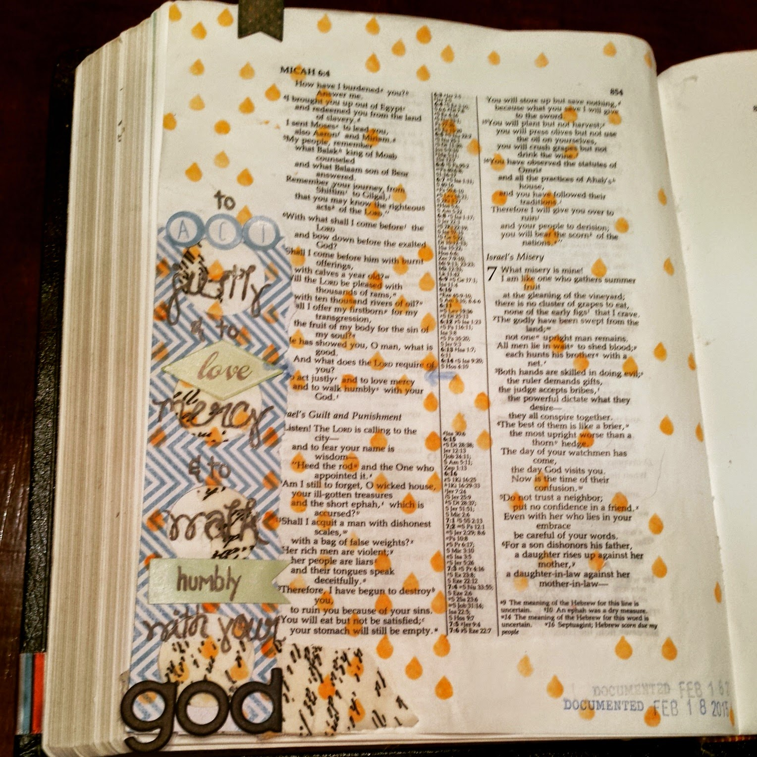 Journaling Bible art with a stencil, stickers, and scrapbook paper.