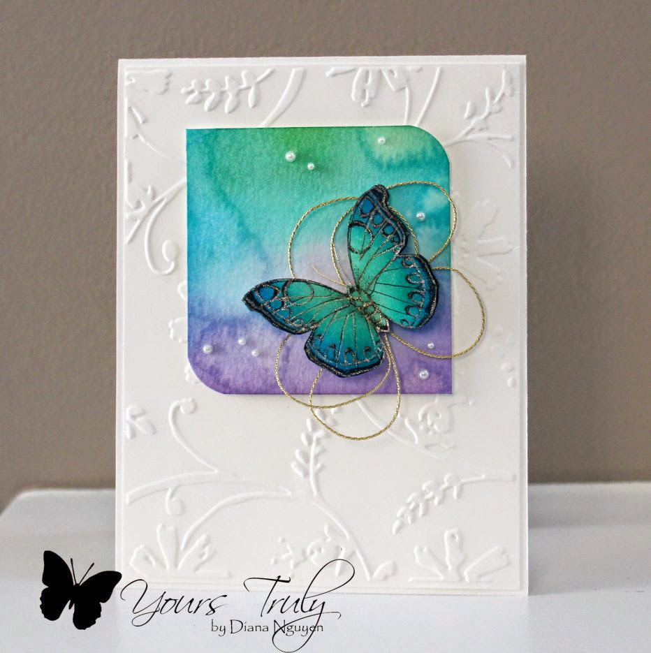 Diana Nguyen, Hero Arts, butterfly, watercolor, CAS, card