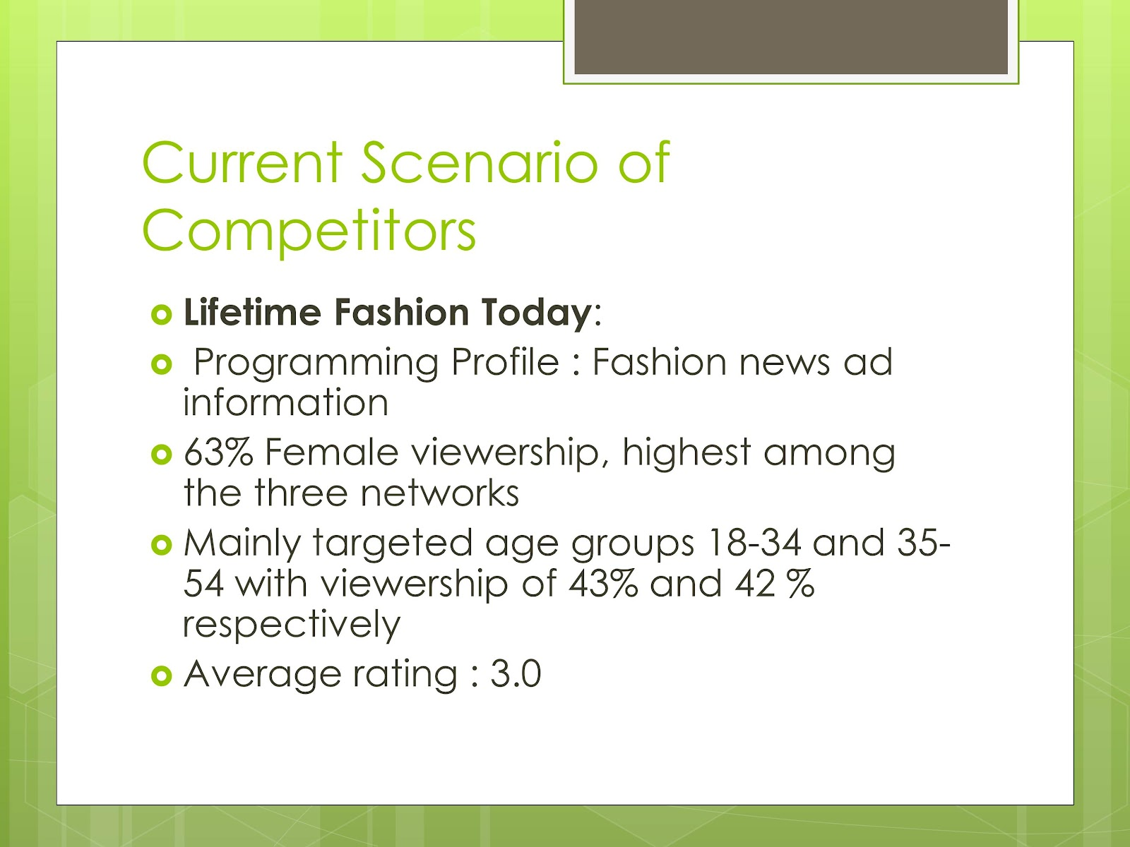 the fashion channel tfc case study The fashion channel have been recently facing a variety of problems regarding their performance in the market new competitors introduced.